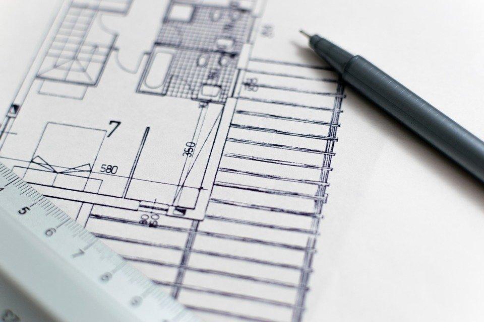plan en noir d'un architecte